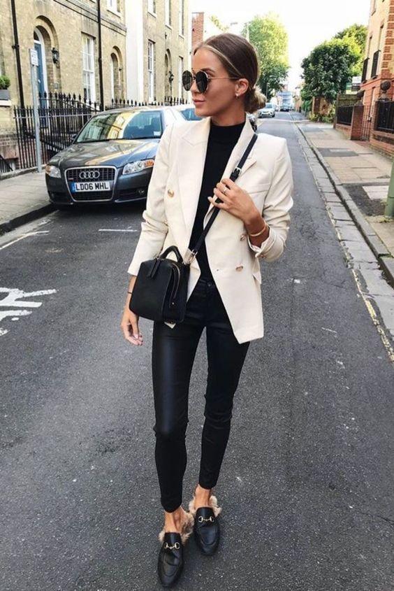Double Breasted Women's Casual Black Blazer Jacket | Blazer .
