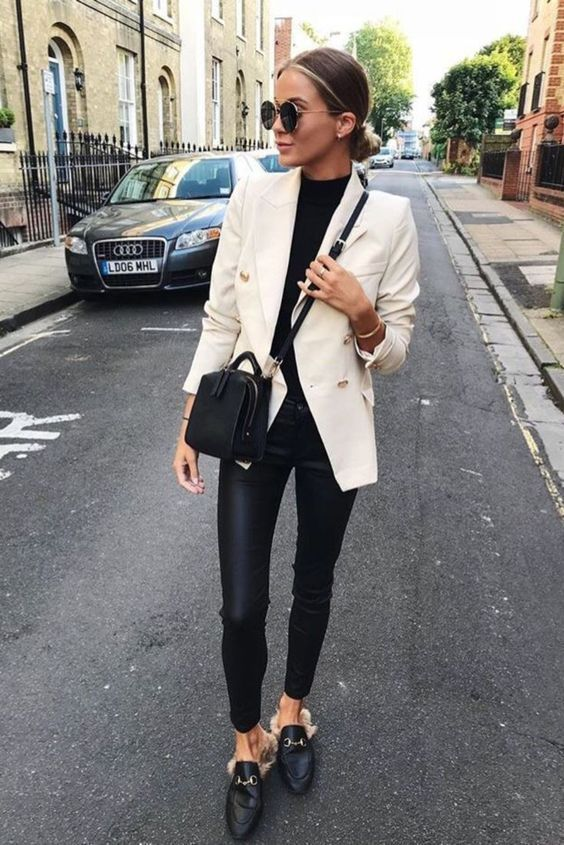 Double Breasted Women's Casual Black Blazer Jacket in 2020 .