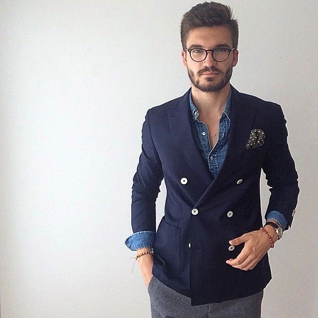 Navy double breasted jacket, over chambray shirt, Urban Street .