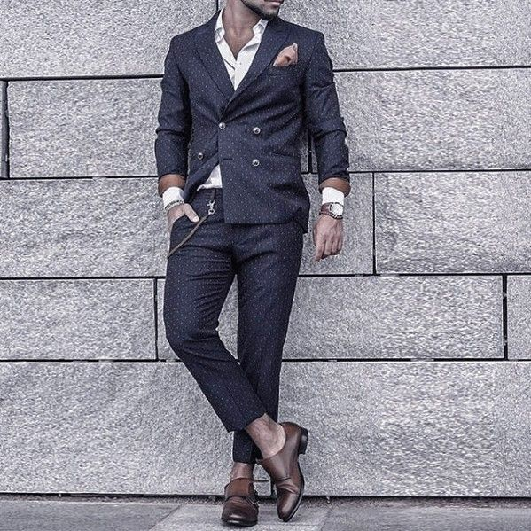 Top 60 Best Navy Blue Suit Brown Shoes Styles For Men - Men's .