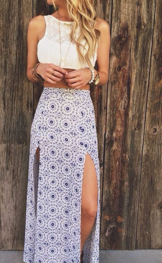 boho #fashion #spring #outfitideas | White crop top + double split .