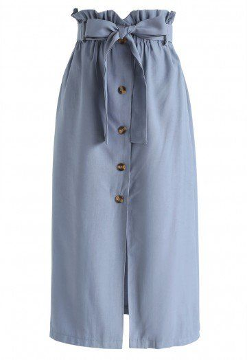 Love Affection Button Down Skirt in Dusty Blue - Skirt - BOTTOMS .
