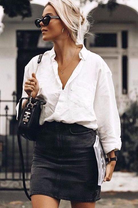 99 Stylish Denim Skirts Ideas To Wear Now in 2020 | Black denim .
