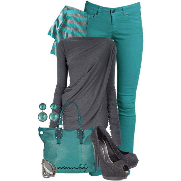 teal, striped scarf, earrings, peep toe heels, grey heels, teal .