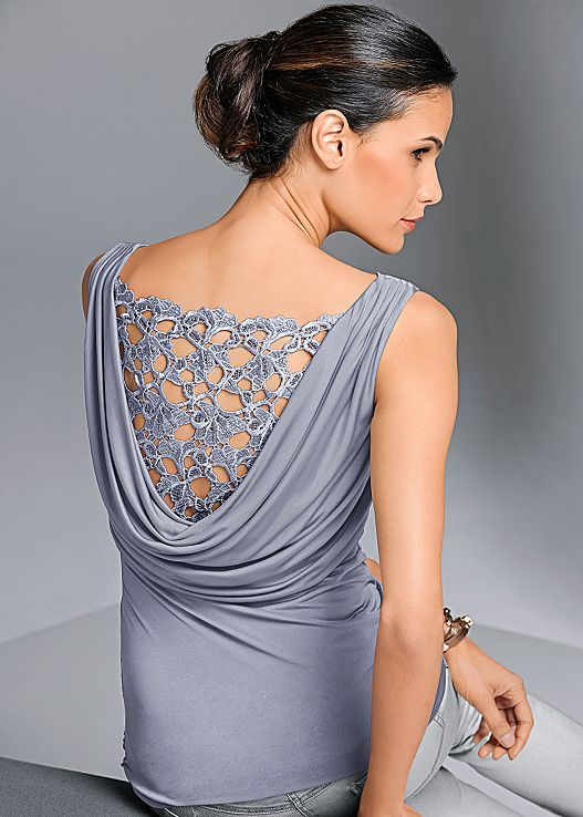 We love the intracate design back top! Venus draped back top .