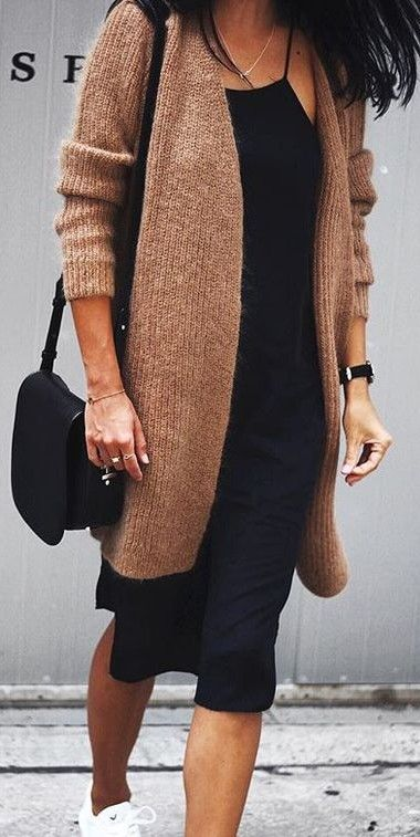 midi dress. knitted cardigan. street style. (With images .