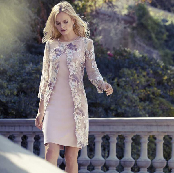 Elegant Knee Length Mother Of The Bride Dresses With Lace Jacket .