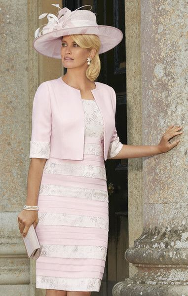 Pink Knee Length Lace Mother Of The Bride Dresses Scoop Neck With .