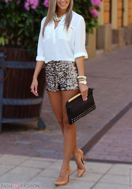 Blouse with dressy shorts. Pearl bracelet with watch and multiple .