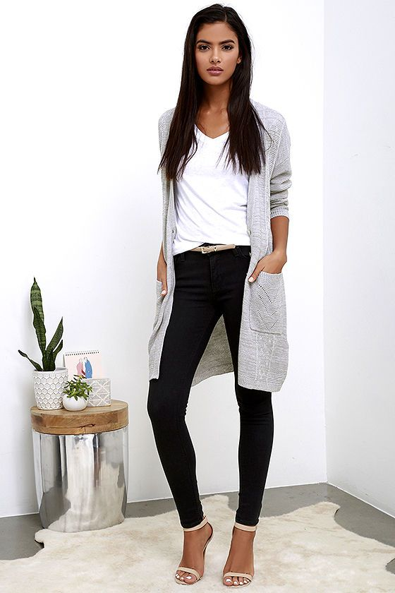 Obey Duster Grey Long Cardigan Sweater | Work outfits women .
