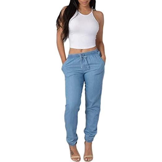 Xinantime Casual Blue Denim Pants Womens Elastic Waist Casual .