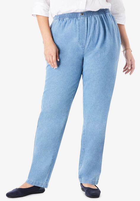 Elastic-Waist Cotton Straight Leg Pant| Plus Size Straight Leg .