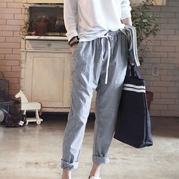 Elastic Waist Trousers Stripe Harem Pants for Women! harem pants .