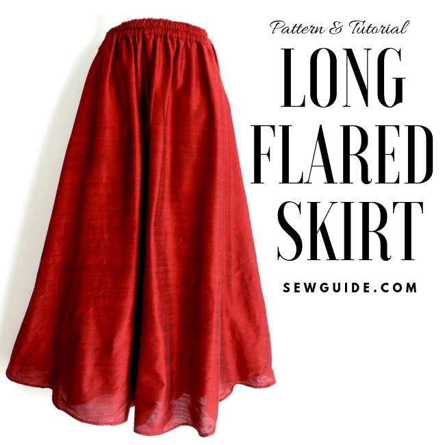 Make a long flared skirt {Free Size} Sewing Pattern & Tutorial .
