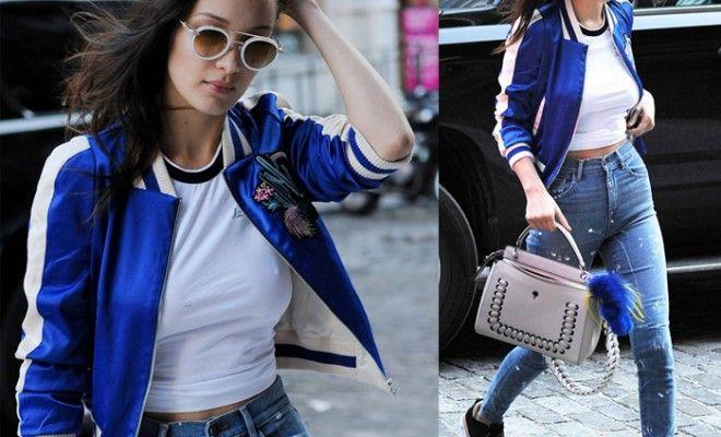 Get Bella Hadid's Maje embroidered bomber jacket - LaiaMagazi