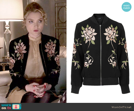 WornOnTV: Grace's floral embroidered bomber jacket on Scream .