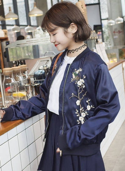 Women's Fashion Floral Embroidered Bomber Jacket - AGATHAGARCIA.C