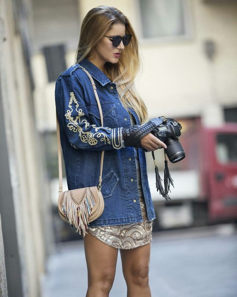 jacket, tumblr, denim jacket, blue jacket, embroidered .