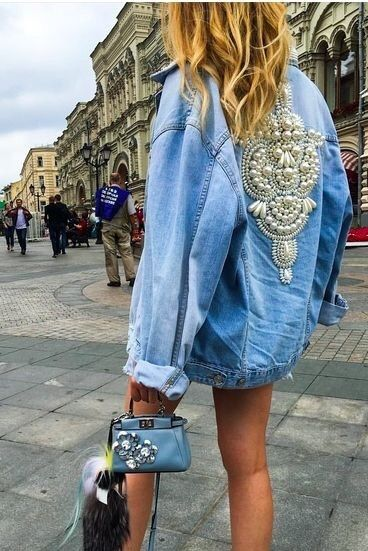 fashion blogger, street style, embroidered denim, denim jacket .