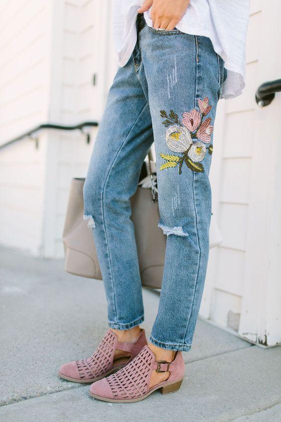 Blue Cotton Denim side Embroidered Party Wear Jeans #Blue#Cotton .