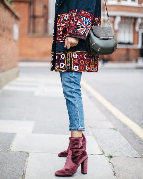 Shoes, velvet boots, velvet, ankle boots, boots, denim, jeans .