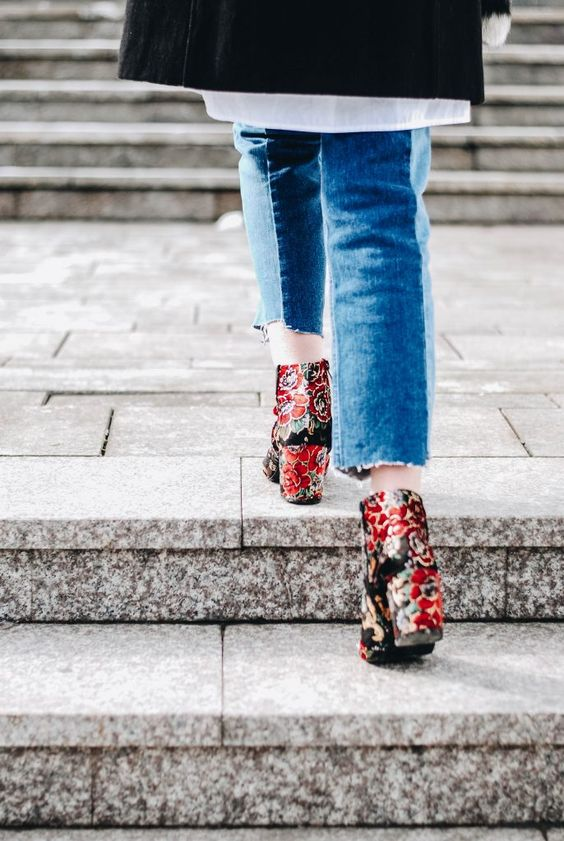 Embroidered Floral Booties:14 Chic & Stylish Outfit Ideas - FMag.c