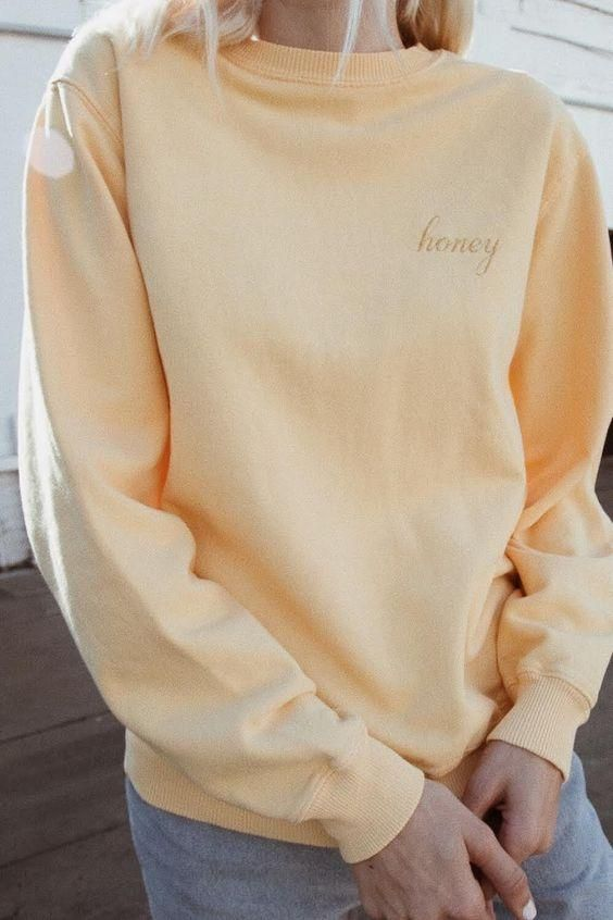 Honey Sweatshirt | Sweatshirt outfit, Sweatshirts, Cute sweatshir