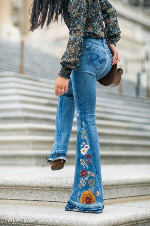 embroidered denim / | Denim fashion, Vintage pants, Bell botto