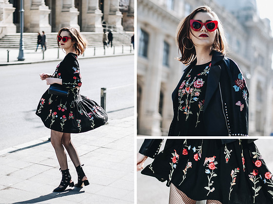 Andreea Birsan - Red Cat Eye Sunglasses, Floral Embroidered Dress .