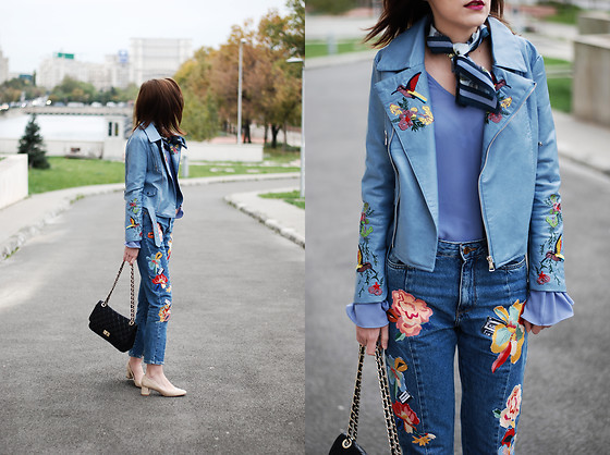 Andreea Birsan - Bird Embroidered Leather Jacket, Bell Sleeve Top .