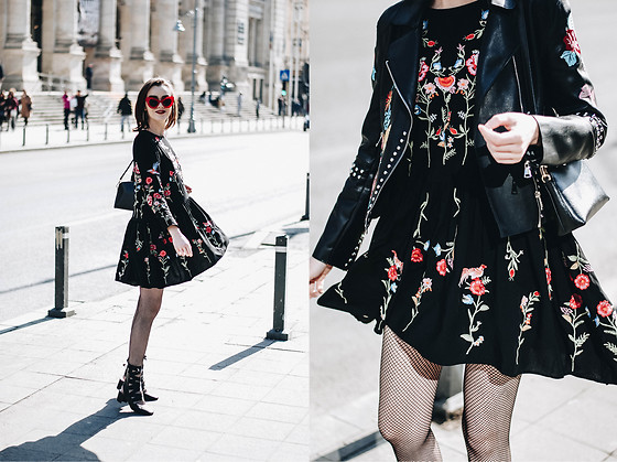 Andreea Birsan - Floral Embroidered Dress, Embroidered Leather .