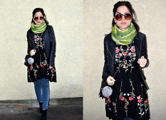 Marija M. - C&A Leather Jacket, Rosewholesale Black Embroidered .