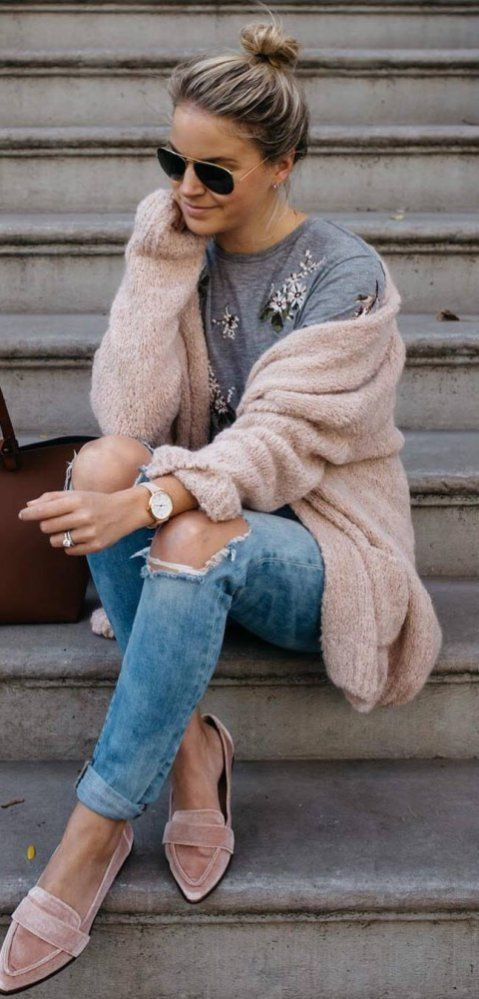 Casual Outfit Inspiration Blush Cardigan Plus Rips Plus Velvet .