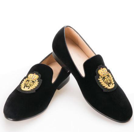 Black Embroidered Velvet Loafers in 2020 | Velvet loafers mens .