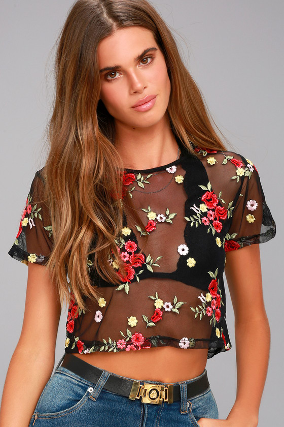 Cute Black Mesh Top - Embroidered Crop Top - Mesh Crop T