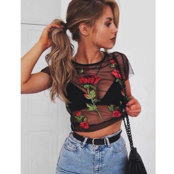 Tops | Rose Embroidered Sheer Mesh Top | Poshma