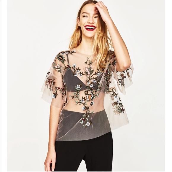Zara Tops | Embroidered Mesh Top | Poshma