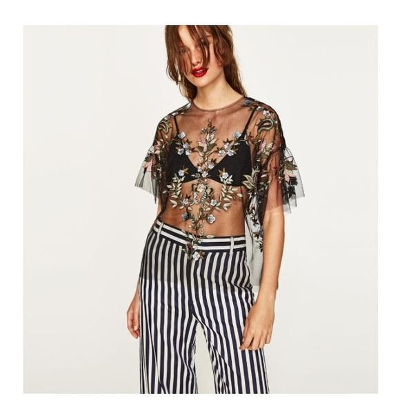 Zara Tops | Embroidered Black Mesh Top | Poshma