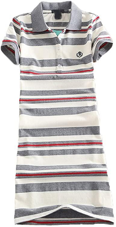 Teeuiear Women Embroidery Polo Striped Print Summer T Shirt Dress .