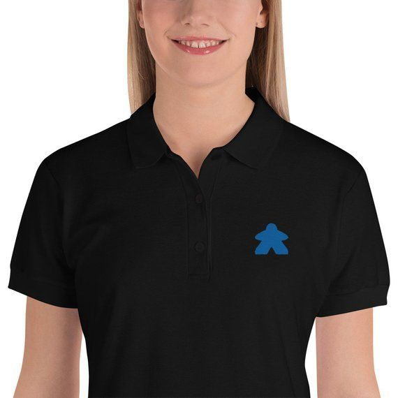 Blue Embroidered Meeple Women's Polo Shirt~Work Appropriate Board .