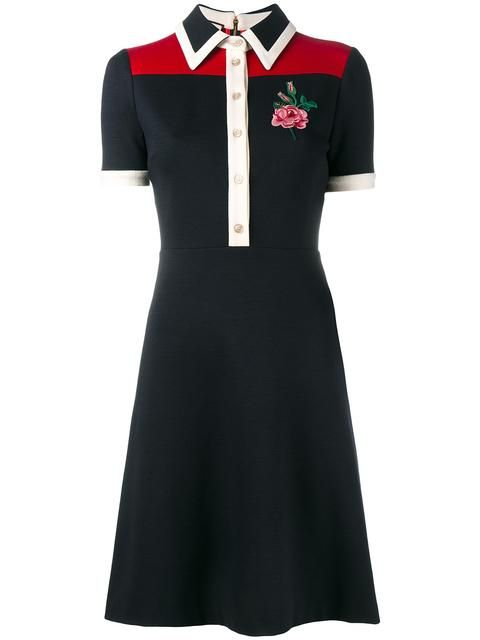 GUCCI rose embroidered polo dress. #gucci #cloth #dress | Clothes .