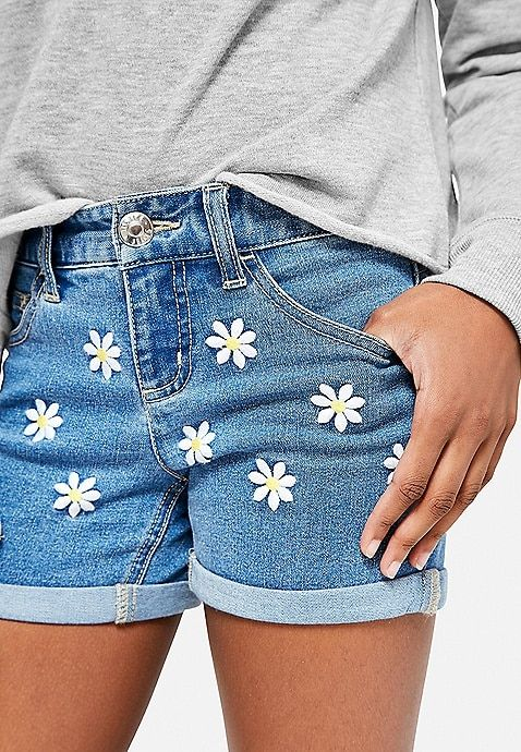 Daisy Embroidered Denim Midi Shorts | Justice | Embroidered denim .