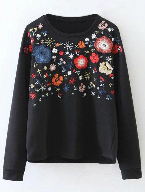 Tiny Flower Embroidered Sweatshirt - BLACK S | Fashion .