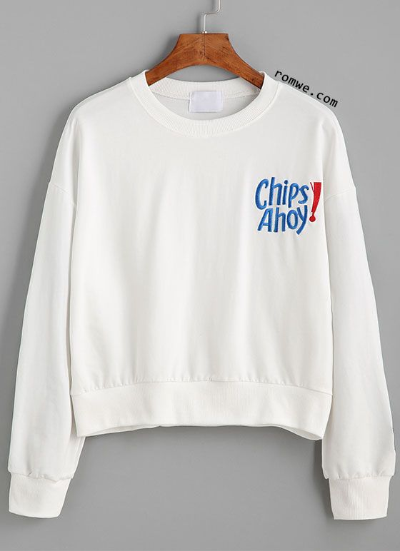 White Drop Shoulder Letter Embroidered Sweatshirt (With images .