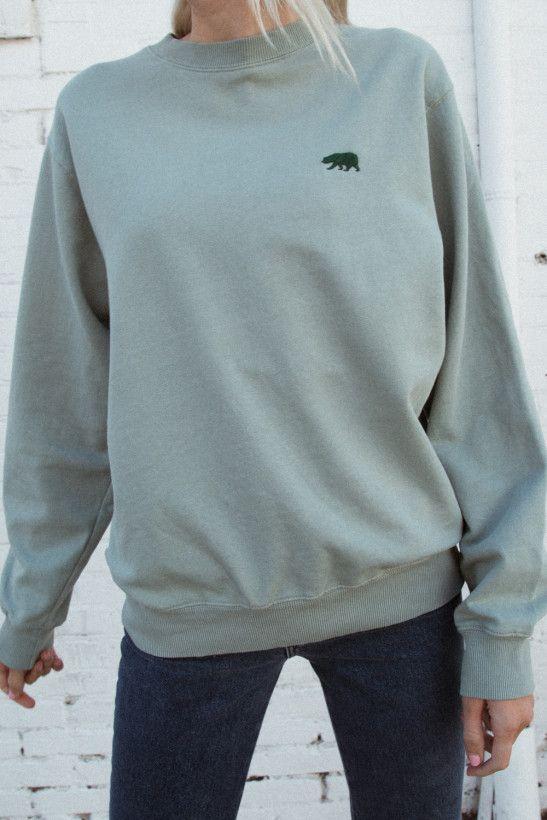 Erica CA Bear Embroidery Sweatshirt | Graphic sweatshirt outfit .