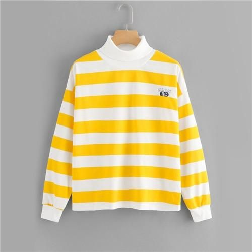 Yellow Striped High Neck Embroidered Sweatshirt – Laila Closet .