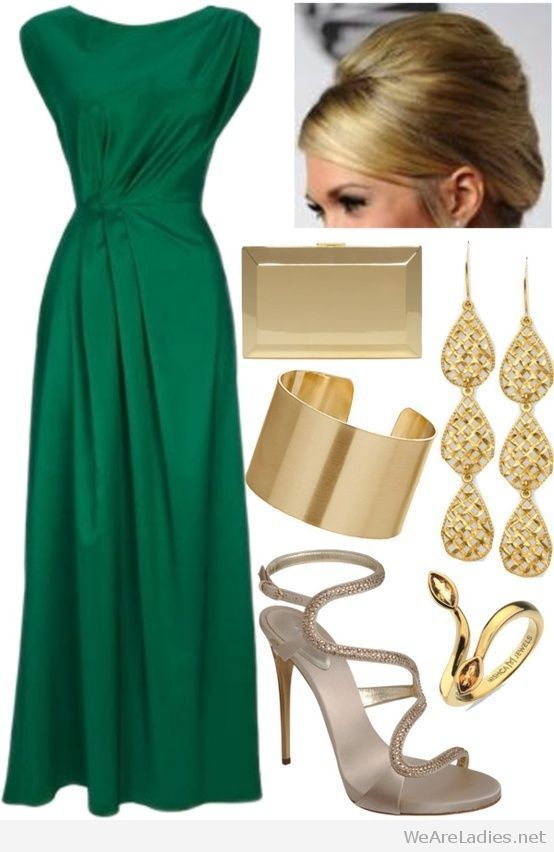 Nice emerald green dress with gold accessories | Emerald dresses .