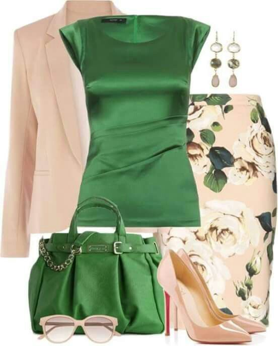 Fashion Style Combination - Emerald Silk Sleeveless Shell Blouse .