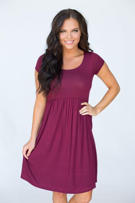 Shop our Short Sleeve Empire Waist Dress. Solid color dress .