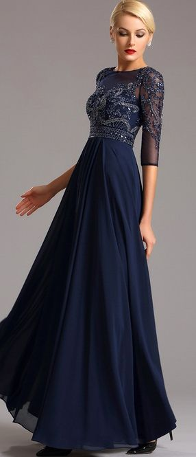 Half Sleeves Navy Blue Evening Dress Formal Gown (36161305 .